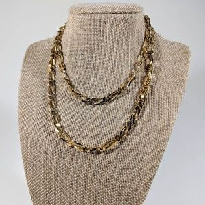 Vintage Monet Long Gold Linked Chain
